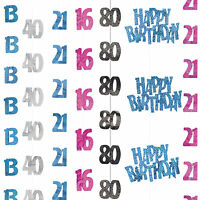 5ft Sparkle Happy Birthday Pink Black Blue Party Hanging String Decorations