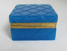 Antique French Blue Opaline Cut Crystal Jewelry Trinket Box hinged Casket