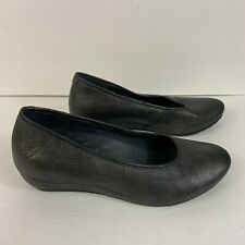 Wolky Womens Size 40 US 9 Slip On Metallic Silver Loafer Wedge Casual Round Toe