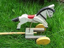 Ancien jouet à pousser bois animé cheval blanc cirque Germany Peu courant