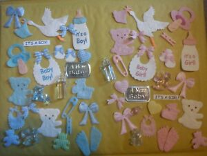 25 BABY GIRL OR BOY THEME MIX CARD MAKING SCRAPBOOKING CRAFT EMBELLISHMENTS
