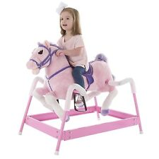 Plush Pink Rocking Riding Bouncing Horse Pony on Springs Galloping Sounds