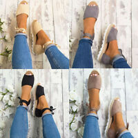 LADIES WOMENS ANKLE LACE UP FLATS SUMMER CHUNKY ESPADRILLES SHOES BEACH SANDALS