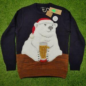 Next Light Up Polar Bear Christmas Jumper Pullover Mens NEW