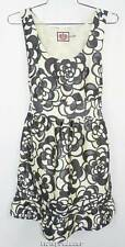 New Women's Juicy Couture Black/Gray/Cream 100% Silk Floral Sleeveless Dress 2