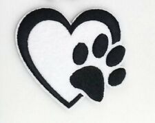 """Paw Print Patch Pet Cat Dog Puppy Iron On Heart Applique 2.44"""" X 2.56"""" Animals"""