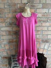 Mais Il Est Ou Le Soleil Pink Frilled Hem Jersey Summer Dress Size XL, UK 18-20?