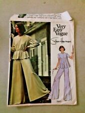 VTG Vogue Stan Herman Pattern 2977 Size 10 Bust 32 Hip 34 Loungewear Bellbottom