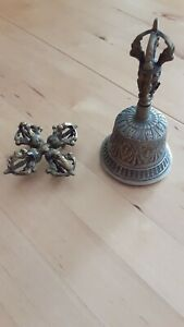 Tibetan Hand Bell - Dorje Drilbu Brass Original - Ritual Essentials for Practice