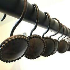 12 Shower Curtain Hooks Rings Ornate Resin Brown Bronze