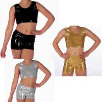 New Children Kids Metallic Hot Wet Look Shiny Party Disco Crop Top Shorts