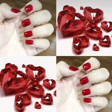 24pcs Pure Red Acrylic Classic Beauty Design Short Full False Nails Tip Manicure