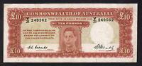 Australia R-60. (1949) Ten Pounds - Coombs/Watt.. George VI Portrait. VF