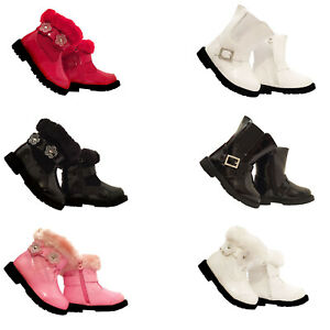 Girls Baby Infant Children Winter Ankle Zip Fur Trim & Buckle Casual Party Boot