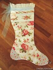 Shabby Cottage Chic! ~ New! HM PINK Cabbage ROSES Crochet Christmas Stocking