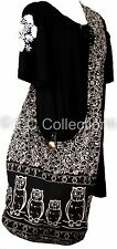 SHOPPING Shoulder BAG SLING COTTON Bohemian re useable Hipster YAM OWL BLACK