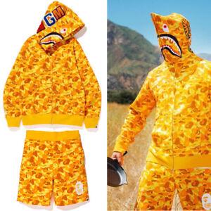 Hoodie Yellow Camo Shark Unisex Teen Adult Hoodies x PUBG Full Zipper Men's
