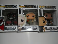 FUNKO POP! LOT OF 3 GAME OF THRONES, Daenery's, Drogon, Grey worm *FLAWED BOXES*