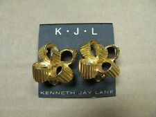 KENNETH JAY LANE GOLD TEXTURED BOW RIBBON LOOP TWIST CLIP-ON EARRINGS NEW