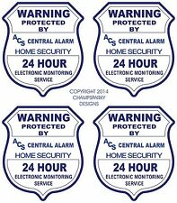 4 ACS VIDEO SURVEILLANCE Security Burglar Alarm Decal  Warning Sticker Signs