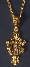 Goldfarbene Kette mit Totenkopfgebilde  - ca. 30 cm
