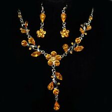 Set Collar Pendientes Cadena Estrás Pendientes Flores Traje Amarillo 13Ge Nuevo