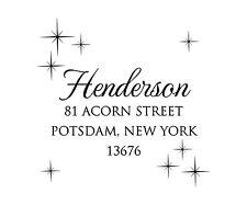 Night Sky Stars Square Return Address Stamp Self Inking Custom - HOL214