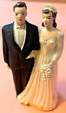 Vintage 1940's Chalkware Wedding Stand Alone Bride & Groom Cake Topper