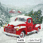 (1475) TWO Individual Paper LUNCHEON Decoupage Napkins - CHRISTMAS RED TRUCK