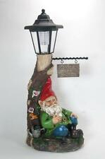 """Sleeping Gnome Under Tree Lamp Post Solar Lighted Welcome Sign 18"""" Tall"""
