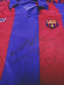 Barcelona Vintage Meyba Jersey Maillot Trikot Maradona Signed