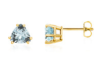 Aquamarine Earrings 14K Yellow Gold, White Gold or Rose Gold Trillion Studs 6mm