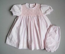 PETIT AMI Girls 6 Mo Pink Smocked Floral Embroidered Dress & Bloomers EUC