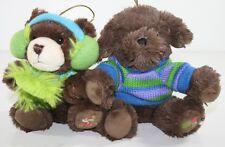 "2 Hugfun Plush Chrismas ornament Stuffed Animal Puppy Dog Bear Scarf Sweater 5"""