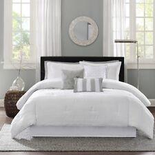 7 Piece King Size White Comforter Set Jacquard Fabric Machine Washable Bedding