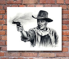 John Wayne Pencil Portrait Gun Shot Art Print Signed by Artist DJR