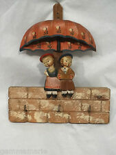 Anri  old wood carved Folk Art Boy and Girl on Face Key Holder plaque