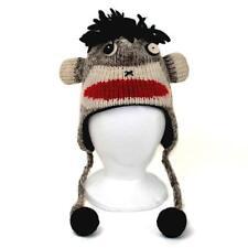 SOCK MONKEY ANIMAL HAT ADULT Ski Snowboard Warm Wool Knit Laplander Lined Cap