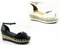 NEW LADIES WOMENS WEDGE ANKLE STRAP ESPADRILLE PLATFORM SANDAL SHOES SIZE 3  - 8