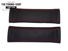 2 x Seat Belt Shoulder Armrest Covers Pads Black Perforated Leather Red Stitch