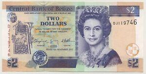 Belize 2 Dollars 1-11-2011 Pick 66.d UNC Uncirculated Banknote