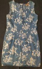 Vtg Floral Denim Jumper Dress Jean Dress Size 8 Rose Flower Button Back Mod