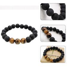 Essential Oils Diffuser Bead Bracelet Lava Rock Stone and Tigers Eye Fashion
