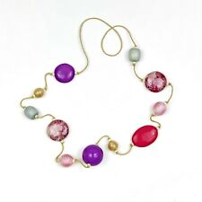 Pink, Purple and Grey Tones Wood Balls Necklace