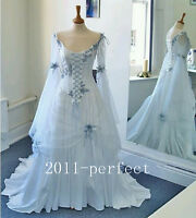 Vintage Celtic Wedding Dress White Pale Blue Medieval Bridal Gown Scoop Neckline