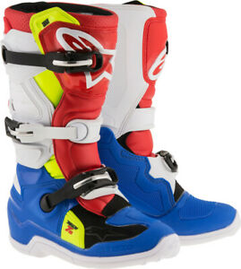 Alpinestars Youth Tech 7S Boots 8 Blue/White/Red/Yellow 2015017-7025-8