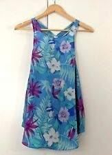 FOREVER NEW Size 12 SILK Blue Pink Green Aqua Floral Casual Sleeveless Party Top