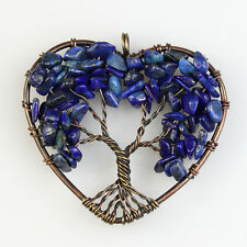 New Natural Lapis Lazuli Chip Beads Tree of Life Copper Heart Pendant