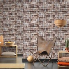 AS Creation Wood Block Pattern Wallpaper Faux Effect Square Embossed 344524