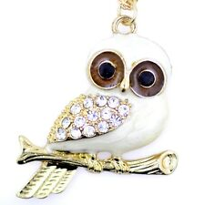 vintage style gold and white enamel owl pendant necklace